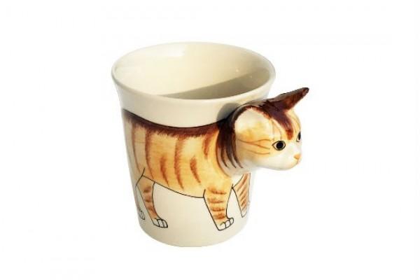 貓咪立體馬克杯 橘色短毛貓