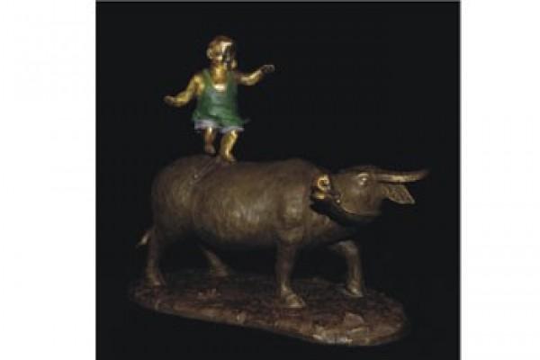 銅雕-童趣(牛轉乾坤)