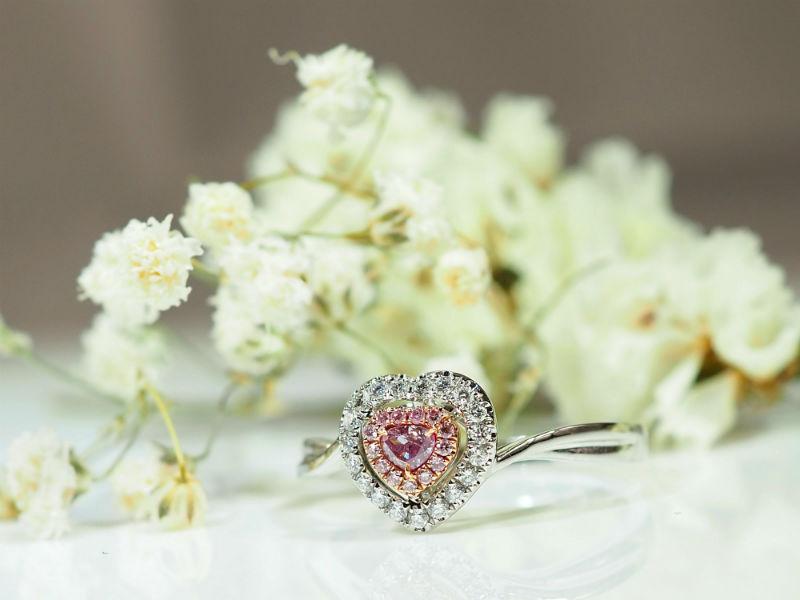 相愛一世心型粉鑽戒指