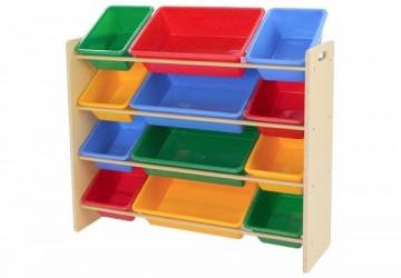 木質12格玩具收納架 – 繽紛彩虹