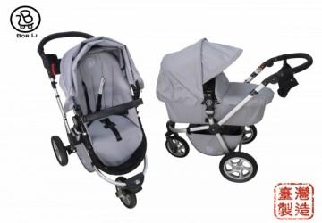 【MIT台灣製】DOIS歐風時尚 三輪多功能雙向嬰兒車全配 (含平躺睡籃, 座椅, 蚊帳, 雨罩)