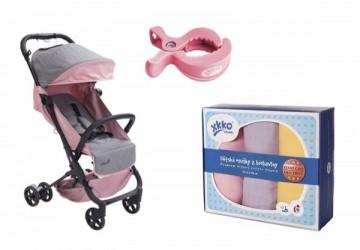 YoDa 超輕量手提登機嬰兒推車(贈嬰兒夾)+捷克XKKO 好時光有機棉紗布巾(90x100)-3入組