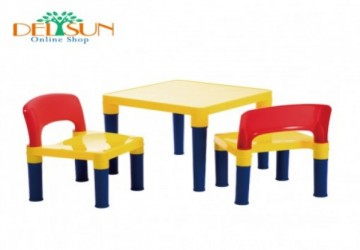 DELSUN兒童桌椅組一桌二椅-繽紛彩虹款