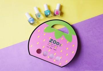 ZOO ㄖㄨˋ兒童無毒指甲油 - 亮片4瓶下午茶組合 / 甜心小草莓(限量10組)
