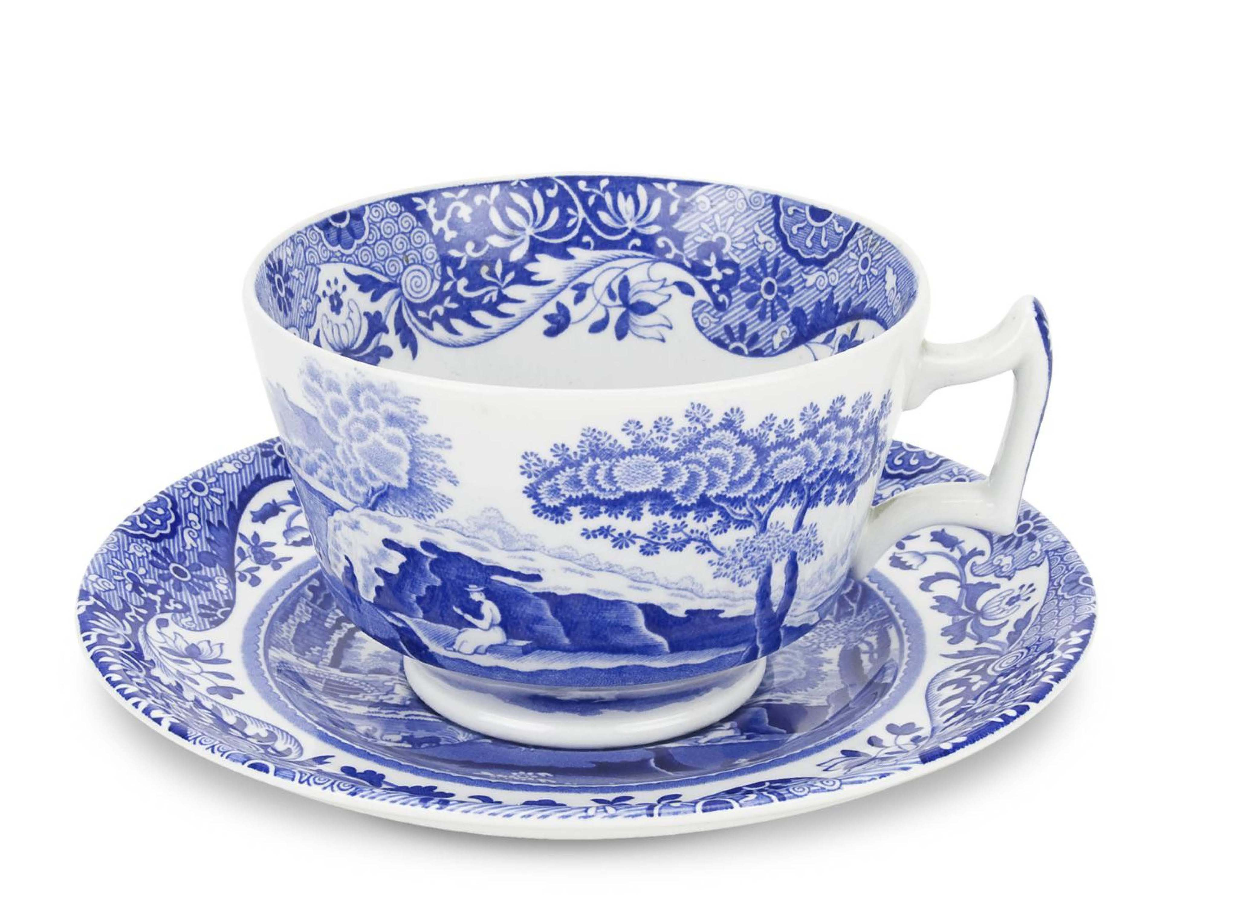 英國義大利藍10OZ早餐杯盤4入組【Spode】